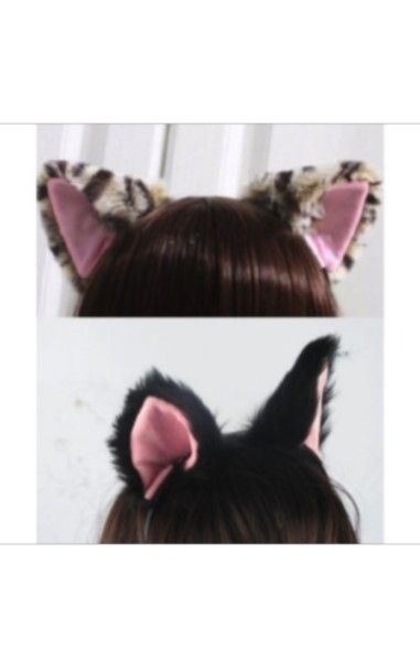 Fluffy Cat Ears Headband- Red
