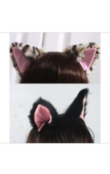 Fluffy Cat Ears Headband- White
