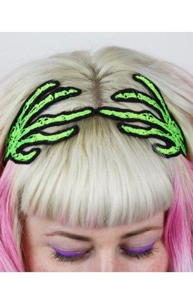 Skeleton Hands Hairband Green