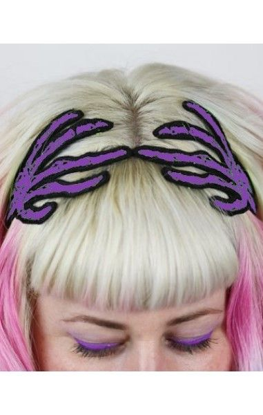 Skeleton Hands Hairband Purple
