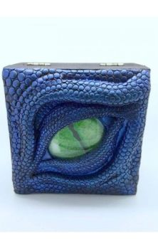Dragon Trinket Box- Blue with Green Eye