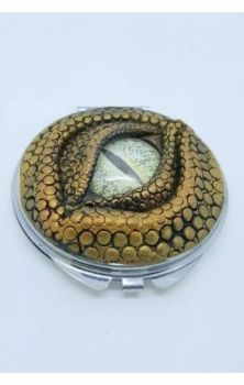 Dragon Eye Compact Mirror- Gold with Green Eye