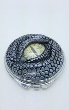 Dragon Eye Compact Mirror- Silver with Green Eye