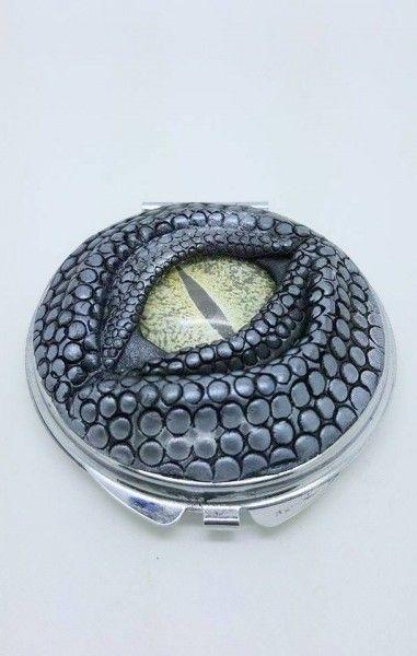 Dragon Eye Compact Mirror- Silver with Green Eye