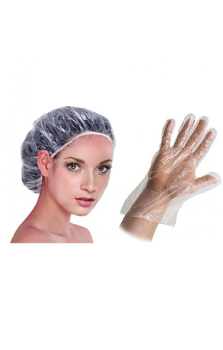 Plastic cap and gloves