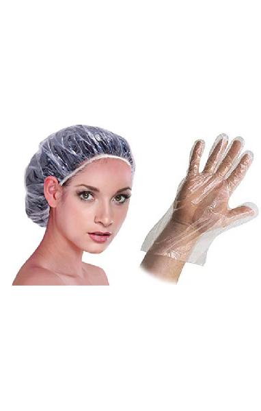 Plastic cap and gloves