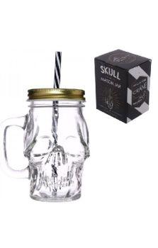 Glass Skull Drinking Jar With Straw