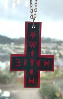 Witch Bitch Cross Necklace