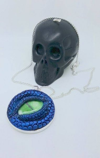 Dragon Eye Necklace - Blue with green eye