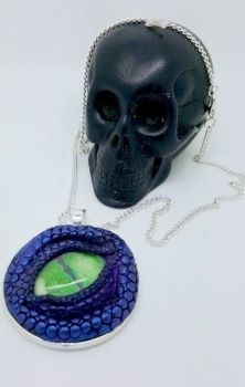 Dragon Eye Necklace - Purple with green eye