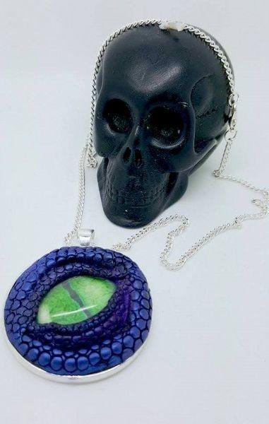Dragon Eye Necklace - Purple with green eye