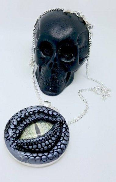 Dragon Eye Necklace - Silver with green eye