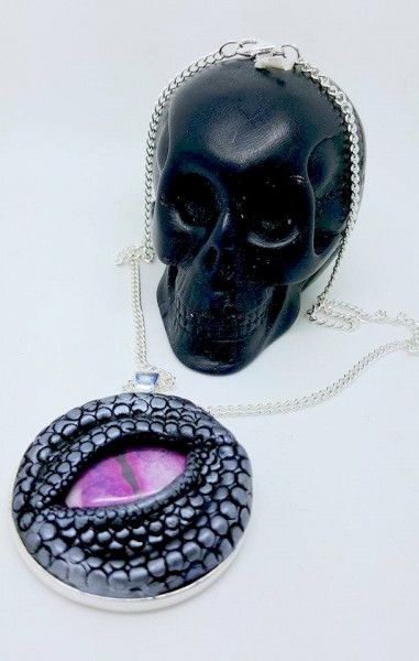 Dragon Eye Necklace - Silver with pink eye
