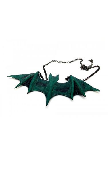Green Leather Handmade Bat Necklace