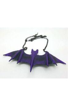 Purple Leather Handmade Bat Necklace