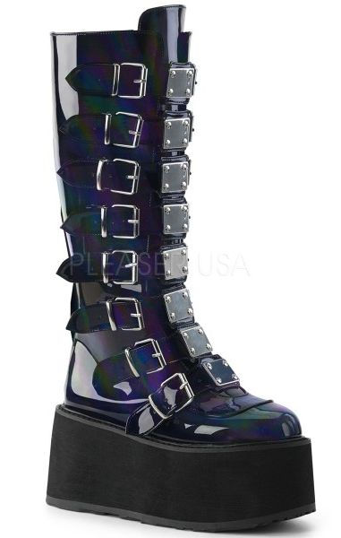 Damned 318 Holographic Black Boots
