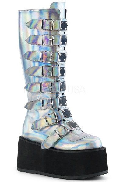 Damned 318 Holographic Silver Boots