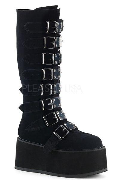 Damned 318 Velvet Black Boots