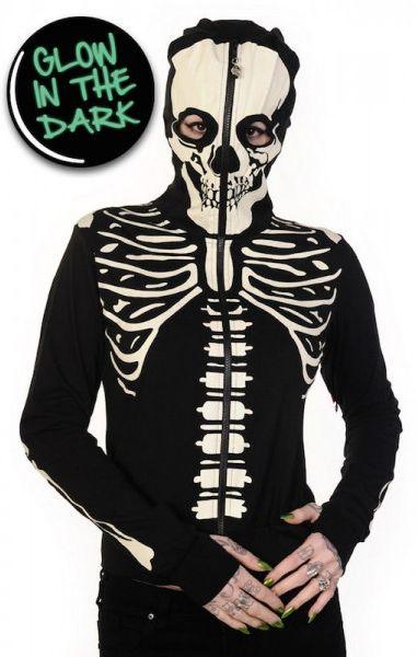 Glow In The Dark Skeleton Hand Hood