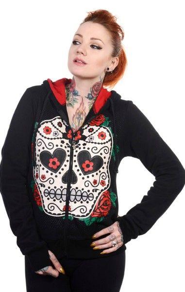 Sugar Skull Red Roses Hood