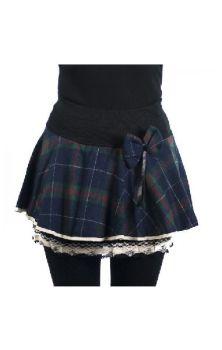 Aya Bow Skirt - Blue/Green Tartan