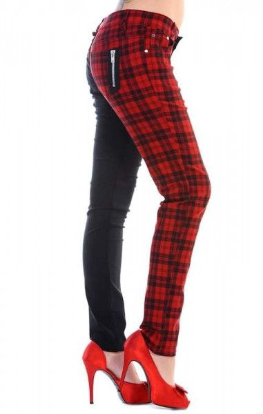 Half Check Trousers - Red