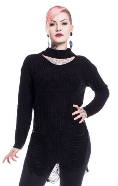 Slit Neck Decay Jumper - Black
