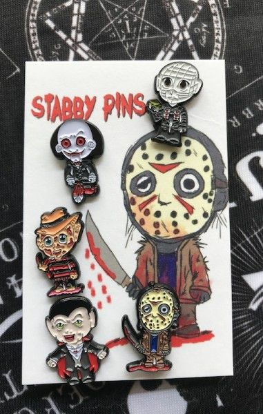 Stabby Pins Horror 5 Pack Enamel Pins
