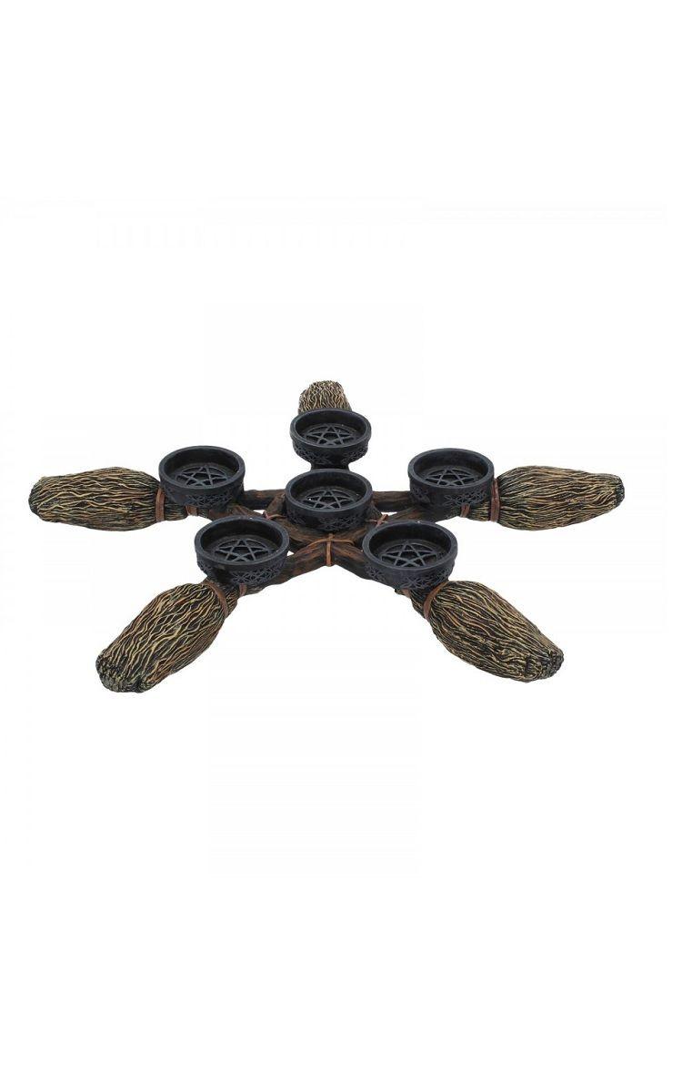 Broomstick Pentagram Tea Light Holder