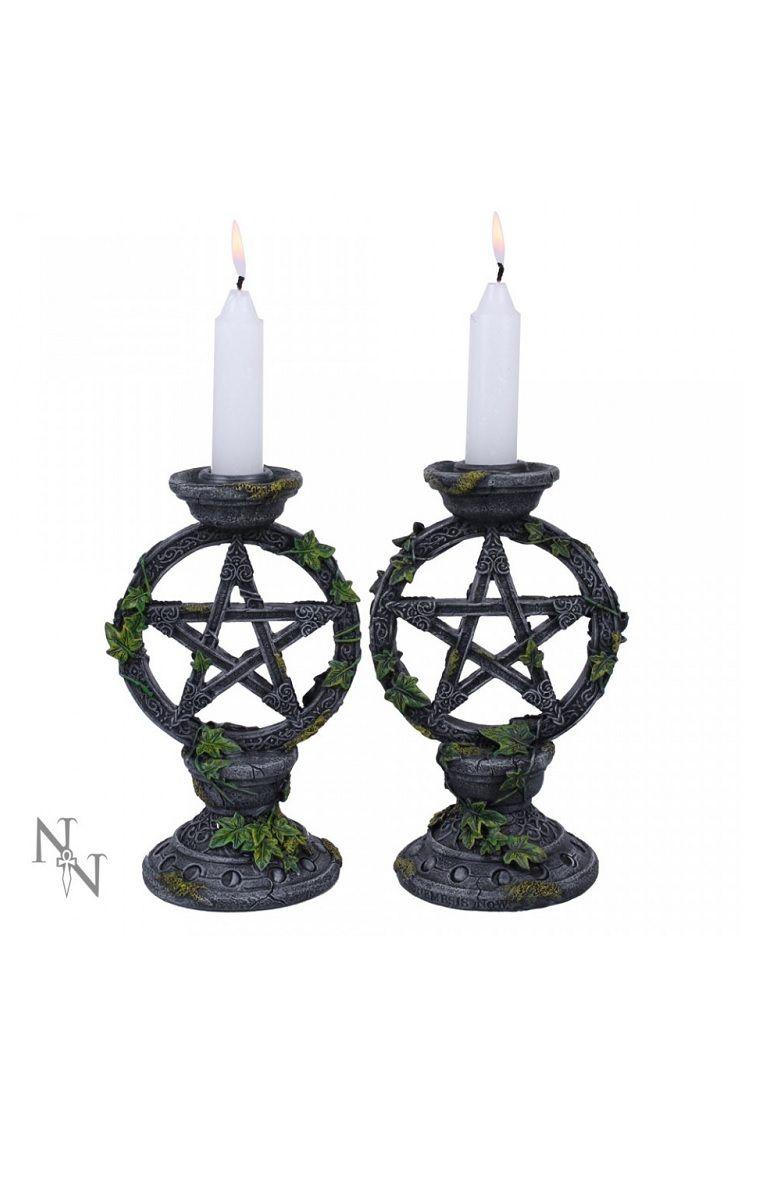 Wiccan Pentagram Candlesticks (Set of 2)