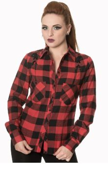 Breaking Rules Check Shirt Red SH1108