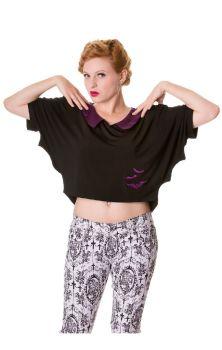 Black Purple Bats Top OBN156