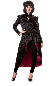 Black Gothic Vine Pattern Long Jacket JBN616