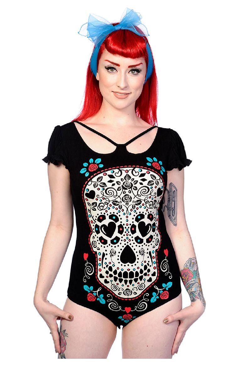 Skull With Roses Bodysuit XBN2005