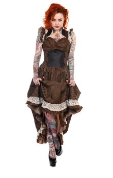 Brown Black Striped Victorian Dress DBN505