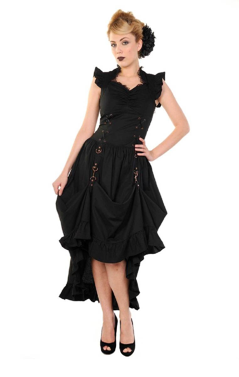 Black Copper Victorian Dress DBN506
