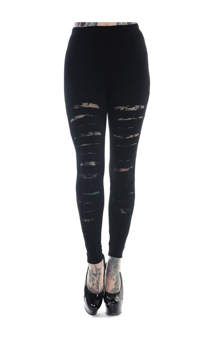 Slashed Black Leggings LBN1105