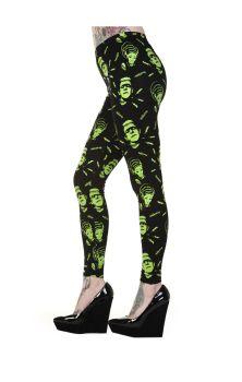 Black Green Frankenstein And Bride Leggings LBN1103