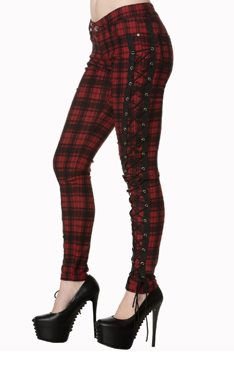 Escaping Darkness Tartan Skinny Trousers TR4073