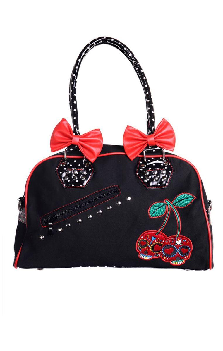 Cherry Skull Dots Handbag