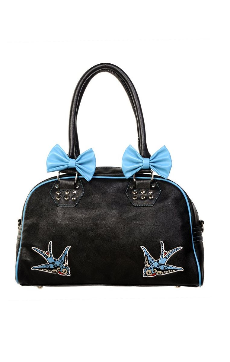 Blue Swallows Bows Handbag