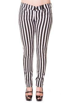 Stripe Skinny Jeans White TBN429