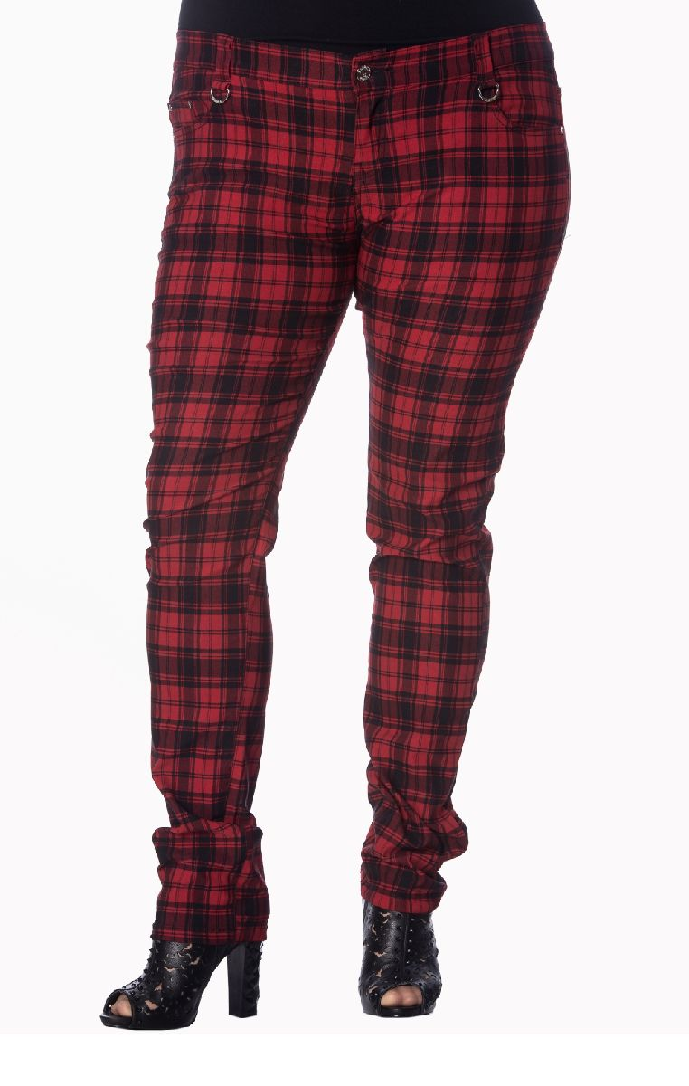 Red Check Skinny Jeans TBN405PLUSCHECK