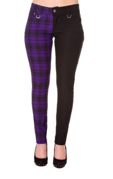 Half Check Trousers - Purple TBN416
