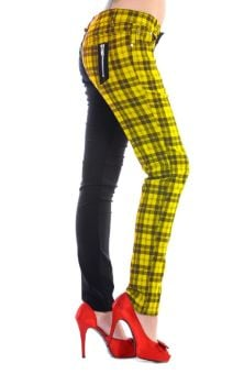 Half Check Trousers - Yellow TBN416