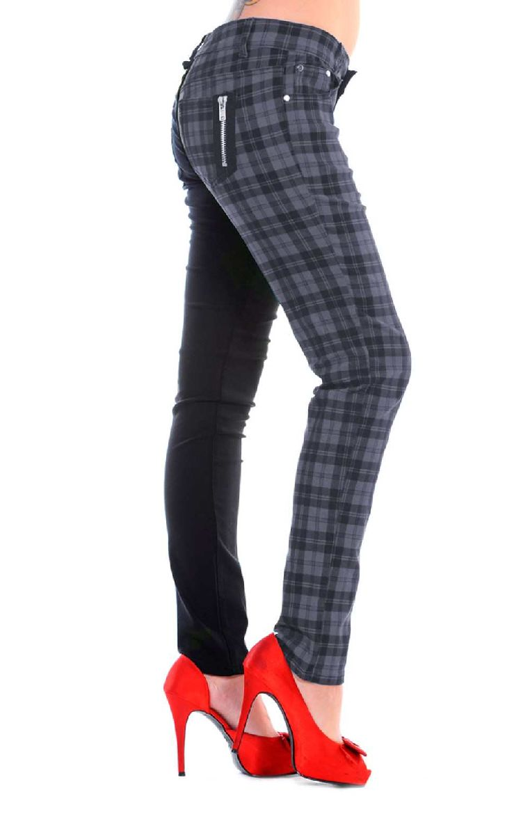 Half Check Trousers - Grey