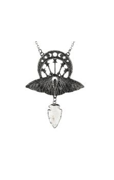 Crystal Moon Moth Necklace Silver