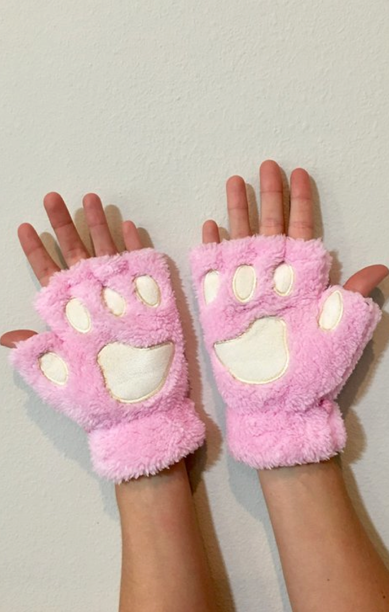 Cat Paws Gloves - Baby Pink