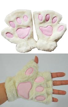 Cat Paws Gloves - White