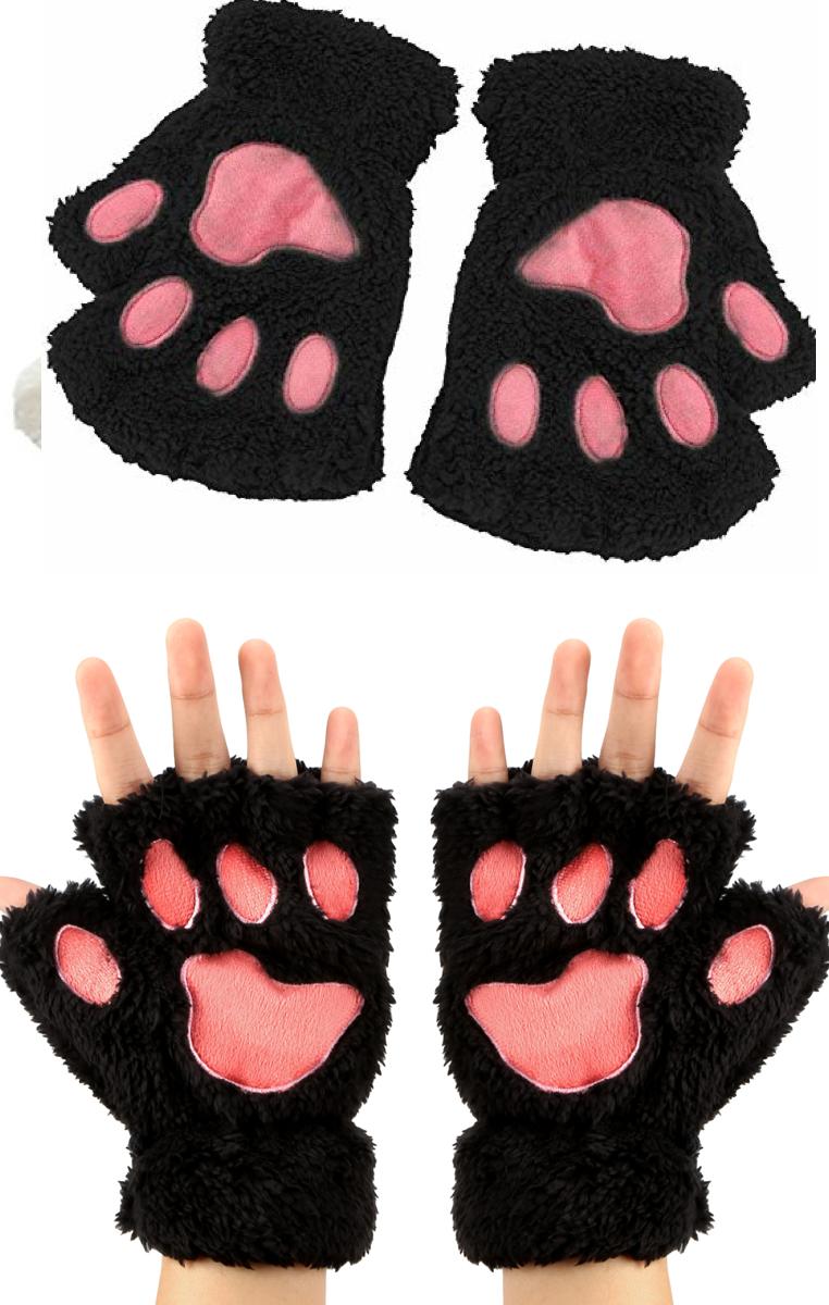 Cat Paw Gloves - Black